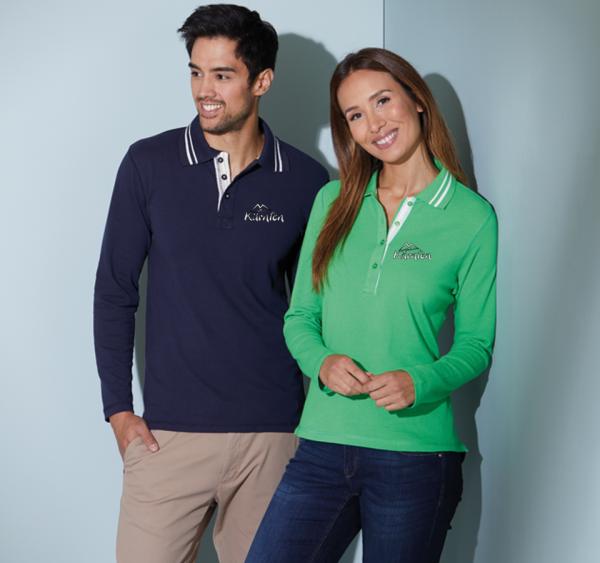 Polo-Shirt Langarm Piqué Damen